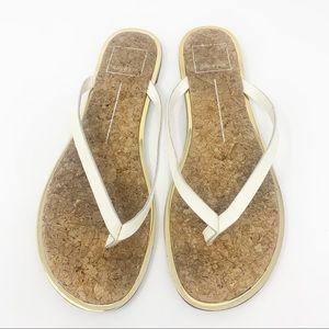 Dolce Vita 'Dawn' White Leather Cork Flip Flops